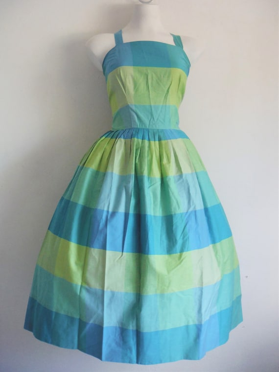 1950s Alex Coleman Cool Blue & Green Check Pattern