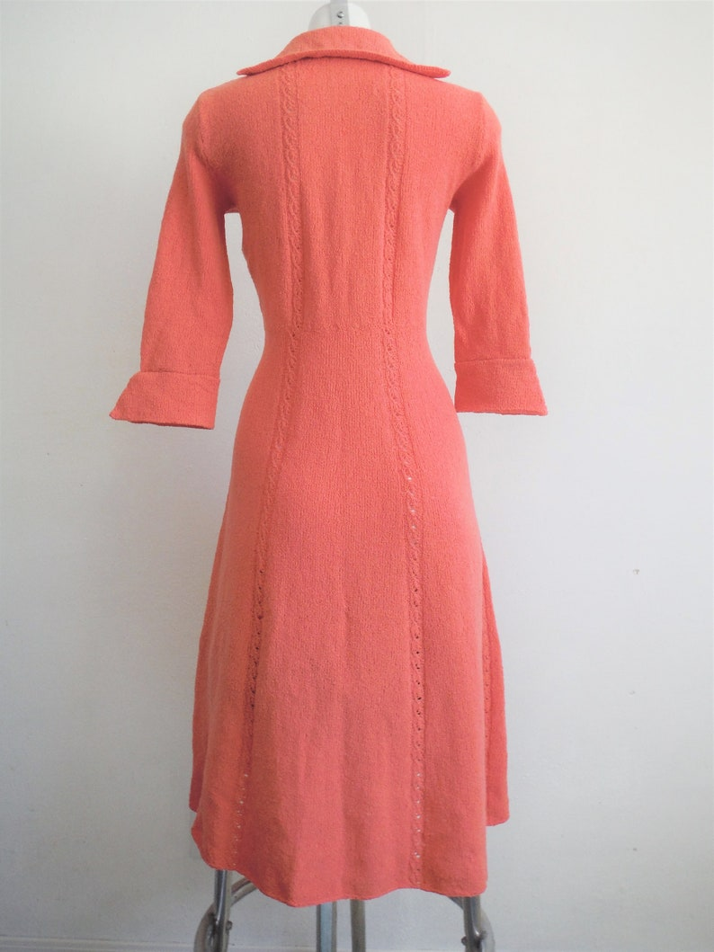 1950s Coral Pink Wool Sweater Dress