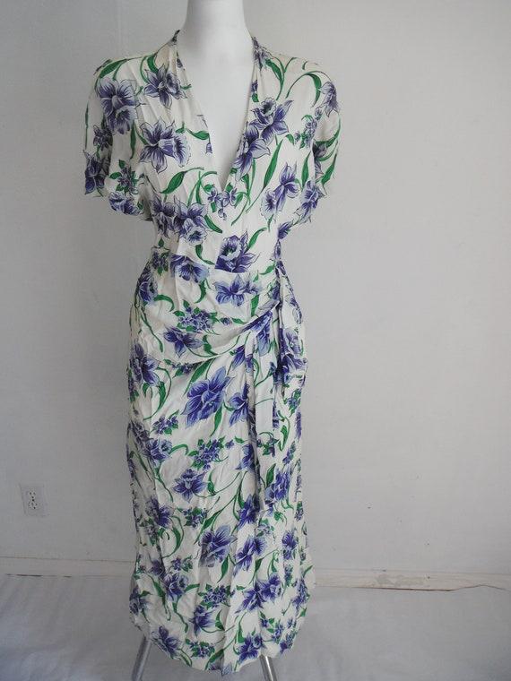 Gorgeous Vintage 1940s Vibrant Blue & Green Wild I
