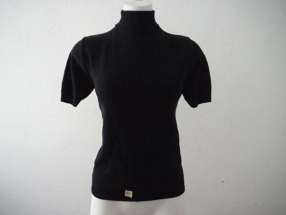 1960s NOS Nylon Black Turtleneck Sweater