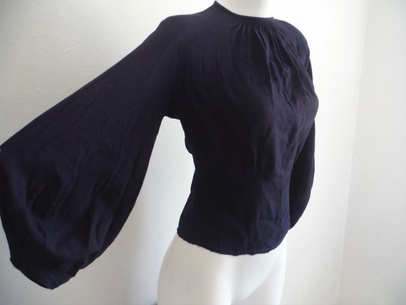 1940s Navy Blue Rayon Crepe Balloon Sleeve Blouse