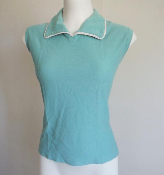 1950s Aqua Jantzen Knit Top