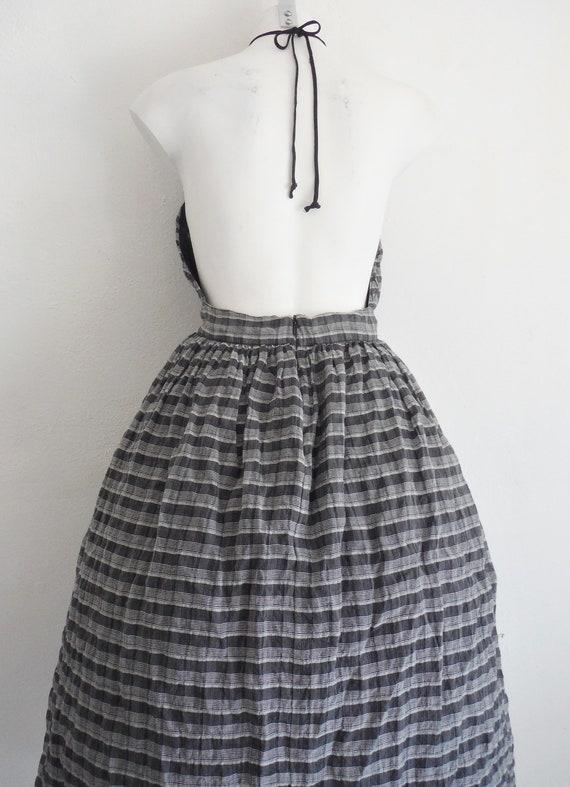 Chic 1950s Plaid Chiffon Halter Dress - image 5