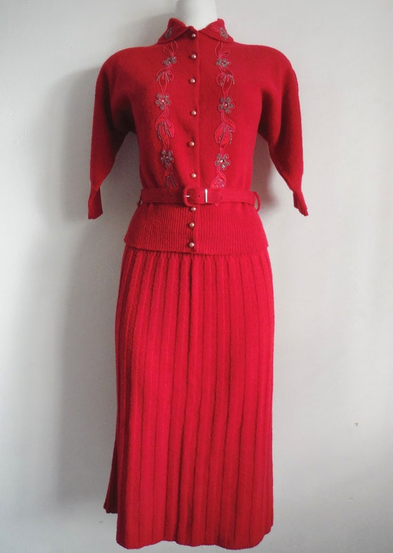 1950s New Old Stock Red Wool Chenille Sweater Skir