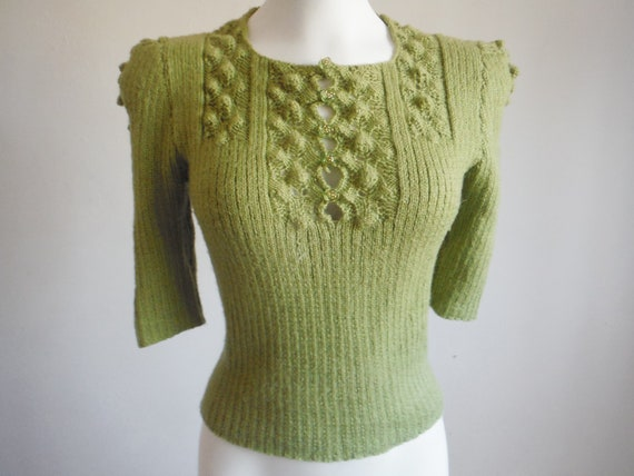 1940s Style Knit Green Sweater