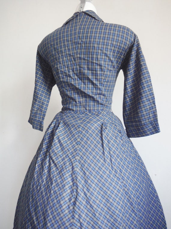 1950s Blue Plaid Cotton Shirtdress - image 4