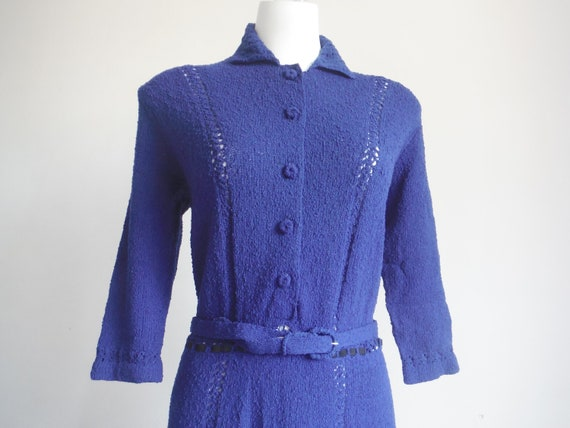 1940s Blue Wool Sweater Dress and Jacket Set