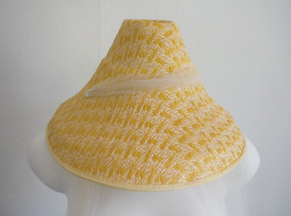 1950s Yellow Woven Straw Sun Hat