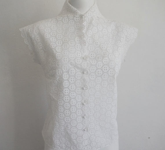 1950 Broderie Anglaise Lace Blouse
