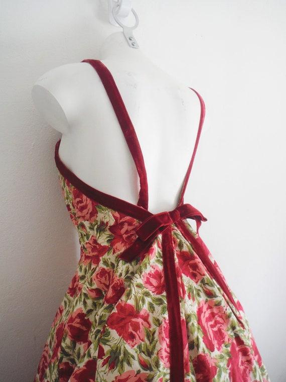 1950s Rose Print Cotton Sun Dress - image 3