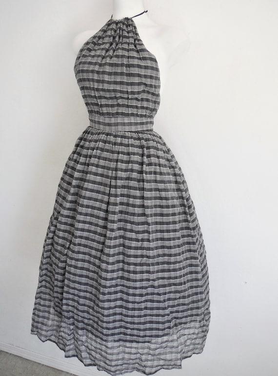 Chic 1950s Plaid Chiffon Halter Dress - image 2
