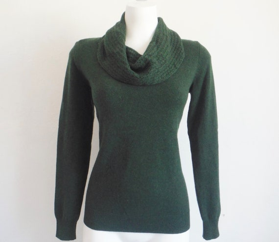 Pine Green Shawl Collar Cashmere Sweater