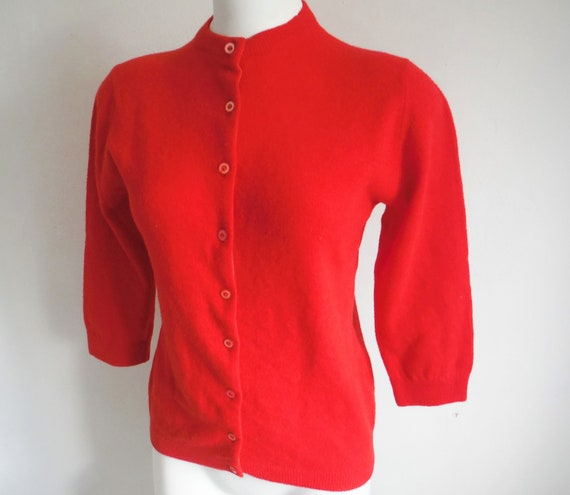 1950s Red Wool Cardigan