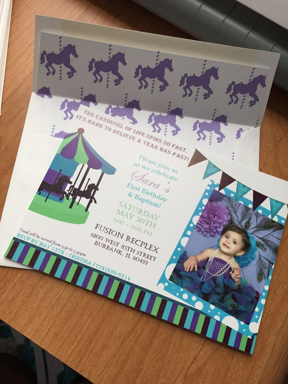 Carousel Theme Kids Birthday Invitations In Peacock Colors Cardstock Handmade Childrens Bday Invites Unique Affordable Baptism Invitation