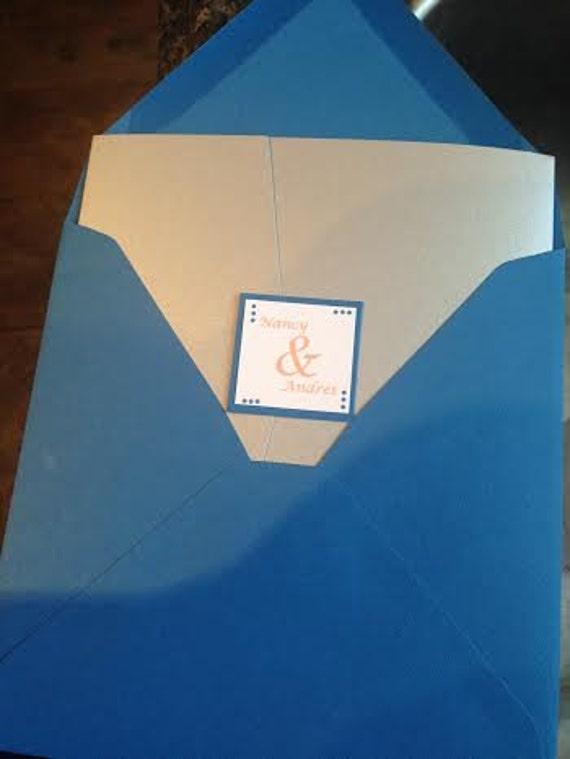 Bleu Cobalt Vintage Floral Damassé strass mariage invitations personnalisées