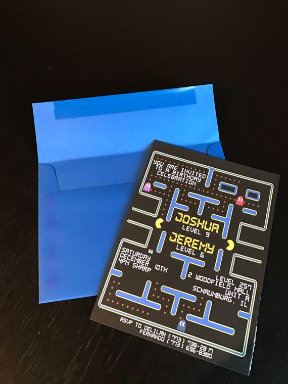 Pacman Invitation Pacman Party Pacman Birthday Party Pacman Party