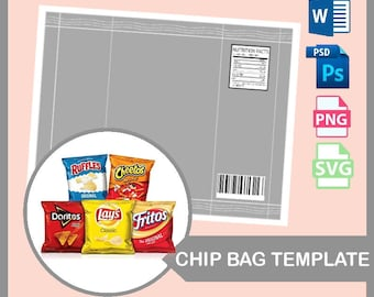 "Chip Bag Template, Blank template, PSD, PNG, Microsoft Word Doc Formats, 8.5x11"" sheet, Custom Potato Chip Bag, Potato Chip Bag, Chip Bag,"