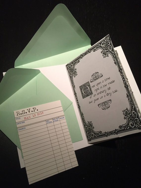 Unique Book Themed Wedding Invitation With Library Card Rsvp Etsy