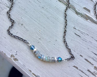 Labradorite  & gunmetal necklace