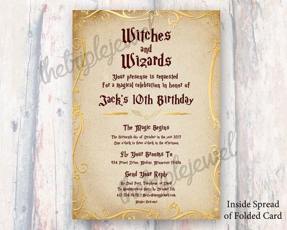 Harry Potter Birthday Invites Themed Party Kids