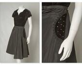 "ORIGINAL VINTAGE 1940s 50s Black Velvet and Taffeta Dress With Sweatheart Neckline and Rhinestone Pockets / Small Medium / Waist up to 30"""