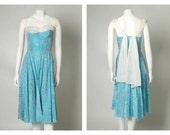 "ORIGINAL VINTAGE 1950s Aqua Blue Floral Brocade Prom Dress with White Chiffon Sash / XS / Waist 24"""