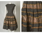 """ORIGINAL VINTAGE 1950s 50s Black Mexican Style Dress with Gold and Red Trim / Large / Waist 33.5"""""""