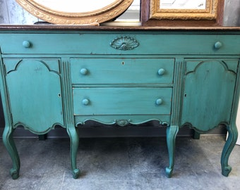 Antique Painted Shabby Chic Buffet Credenza Console Cabinet