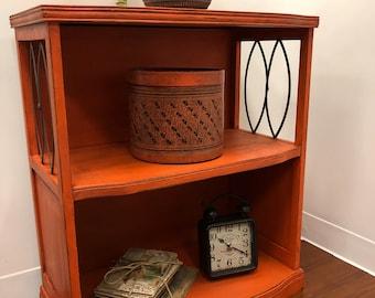 Vintage Art Deco Shabby Chic Boho Painted Orange Bookshelf Bookcase Table