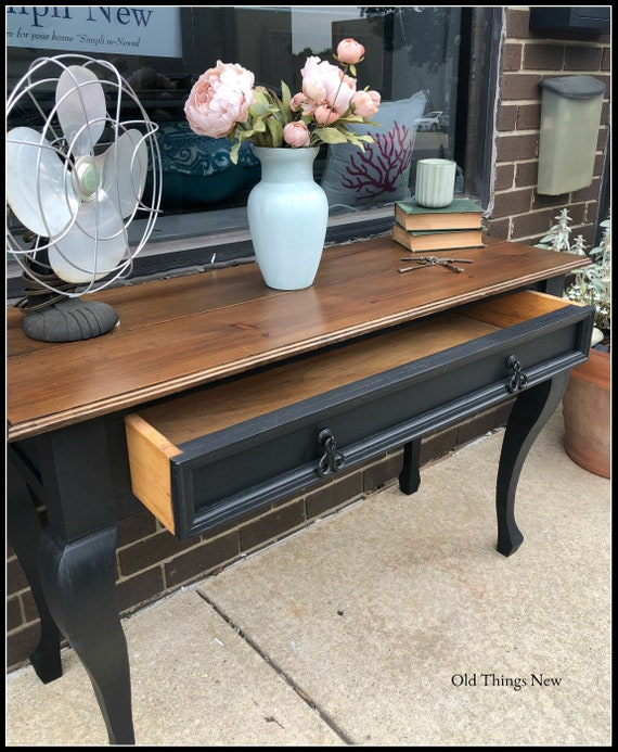 Peachy Vintage Painted Black Mexican Pine Sofa Entryway Table Caraccident5 Cool Chair Designs And Ideas Caraccident5Info