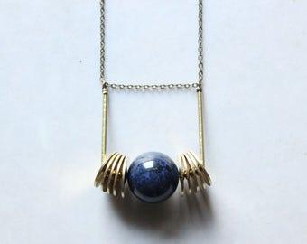dumortierite jewelry blue orb necklace brass Geometric pendant necklace long statement necklace gold modern minimalist jewelry urban jewelry