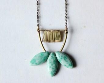 Jasper necklace,green jasper pendant necklace,gold lotus necklace,long statement necklace,modern minimalist Geometric contemporary jewelry