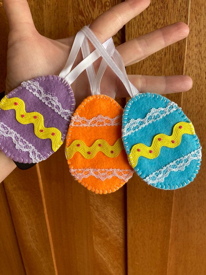 Set of three felt Easter Egg Ornaments