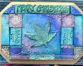 Merry Cannabis Christmas Polymer Clay Mosaic Wall Art