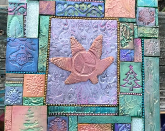 Hippie Christmas Wall Art Polymer Clay Mosaic Peace and Pot