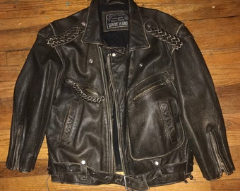 Vintage Leather Biker Jacket George Marciano Guess Smal