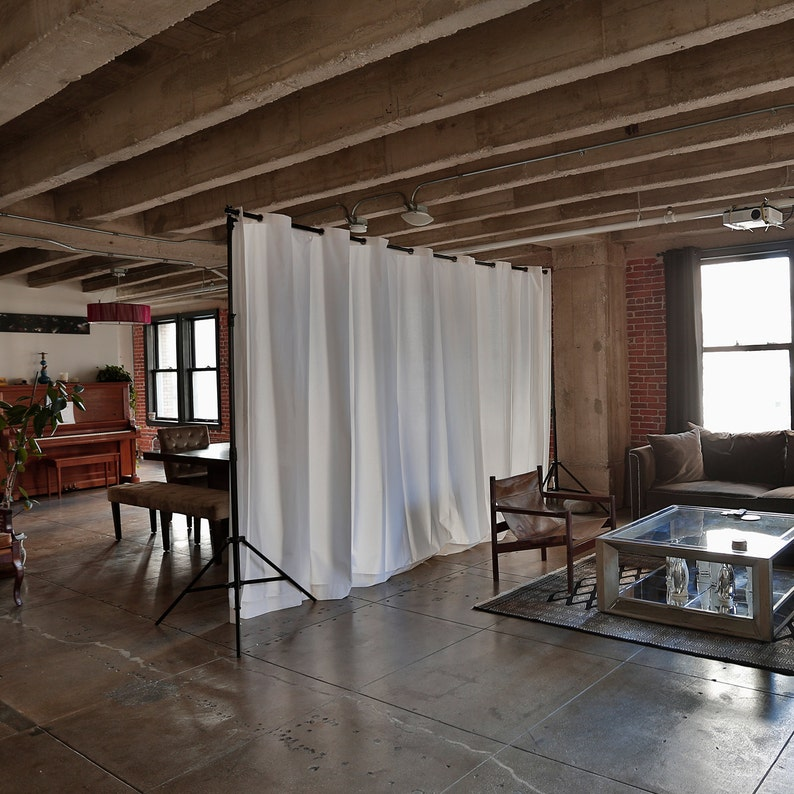 Muslin Freestanding Room Divider Kit For Rooms 8ft To 9ft Etsy