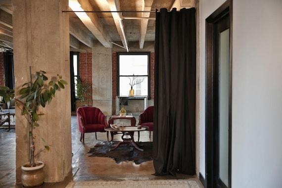 muslin tension rod room divider kit for rooms 8ft to 9ft. Black Bedroom Furniture Sets. Home Design Ideas
