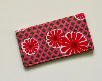 Pink Daisy Fabric Checkbook Cover, Pink Floral Checkbook Case, Fabric Checkbook Holder, Wallet