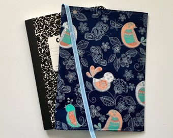 Navy Blue Fabric Journal Cover, Bird Journal Cover, Composition Notebook Cover