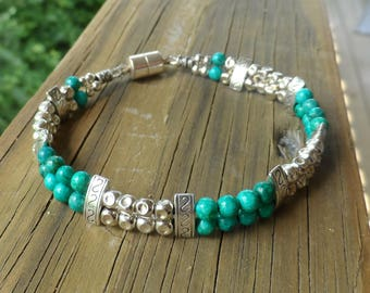 Women's Turquoise and Tibetan Silver Double Strand Bracelet with Magnetic Clasp