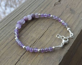 Amethyst and Sterling Silver Bracelet with Sterling Silver Lobster Clasp