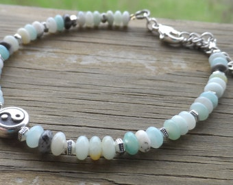 Amazonite and Tierra Cast Pewter Bracelet with Tierra Cast Peace Sign and Lobster Clasp