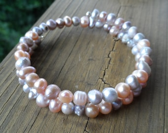 Freshwater cultured Pearl Memory Wire Bracelet