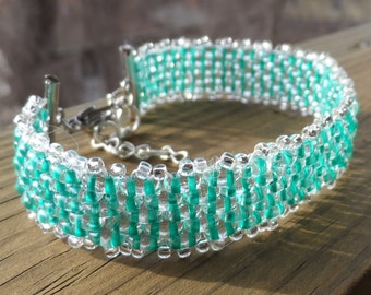 Teal and Silver Hand Beaded  Bracelet with Lobster Clasp