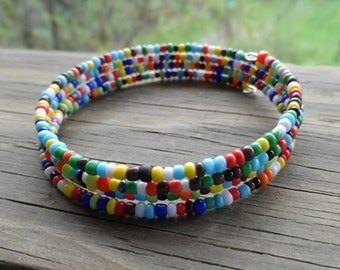 Memory Wire  4 Wrap Bracelet in Multi Color Small Beads