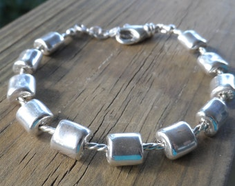 Purely Sterling Silver Bracelet 'Pillow' beads and Sterling Silver Lobster Clasp