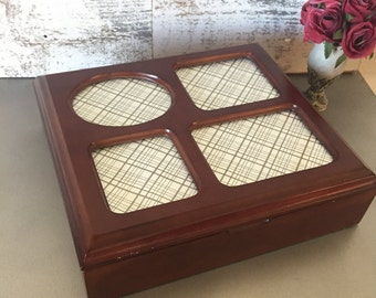 Wooden Box With Frame Lid Etsy