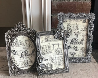 Vintage Silver Gold Collage Frame Set Of 3 With Glass Etsy