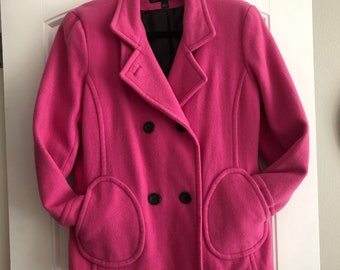 Art Deco Italian Long Coat w Belt Day Glo Buttons Very Rich Pompola New Old Stock Pure Silk Mod Peacoat Women/'s New Vintage Ultra